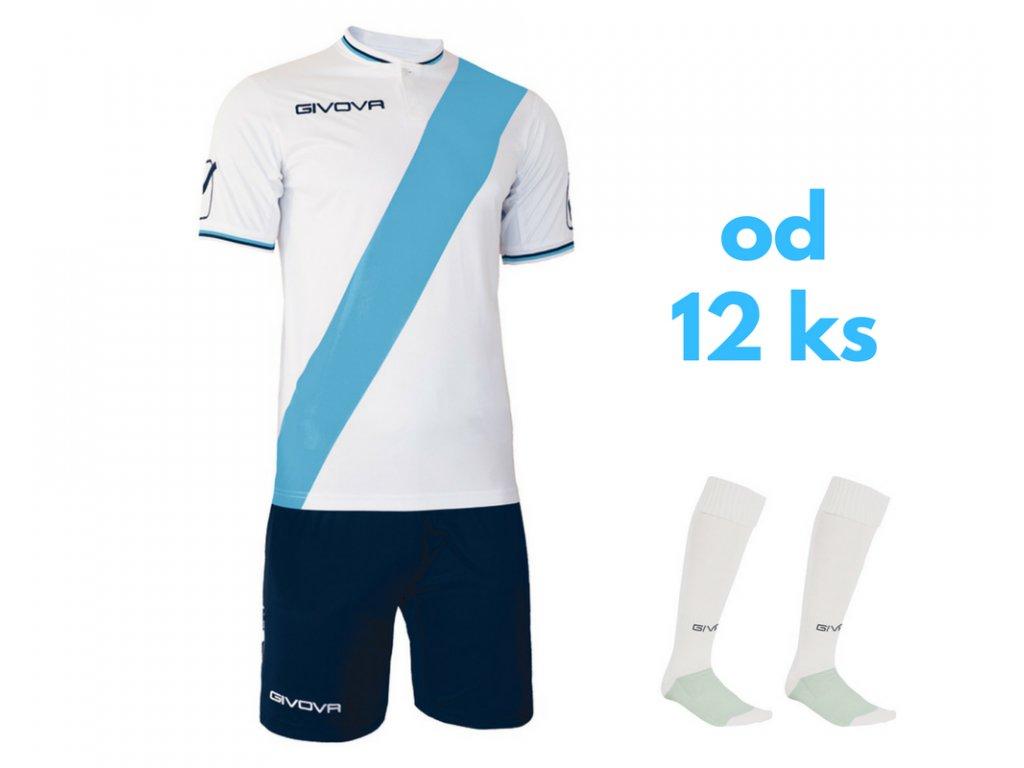 Futbalová sada Givova Plate pre celé mužstvo, od 12 ks, biela / svetlo modrá