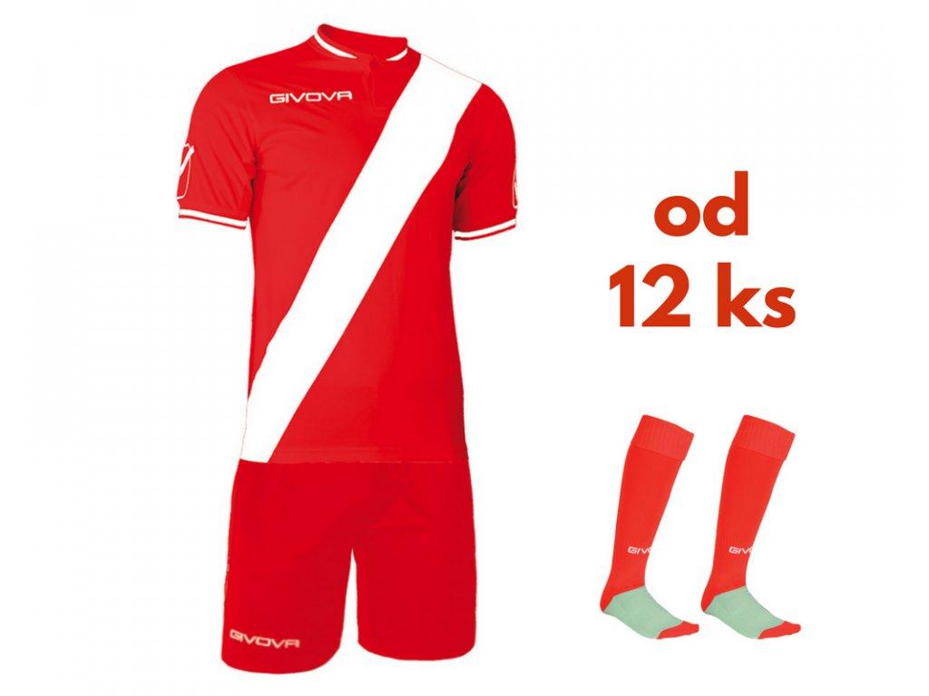 Futbalová sada Givova Plate pre celé mužstvo, od 12 ks, červená / biela