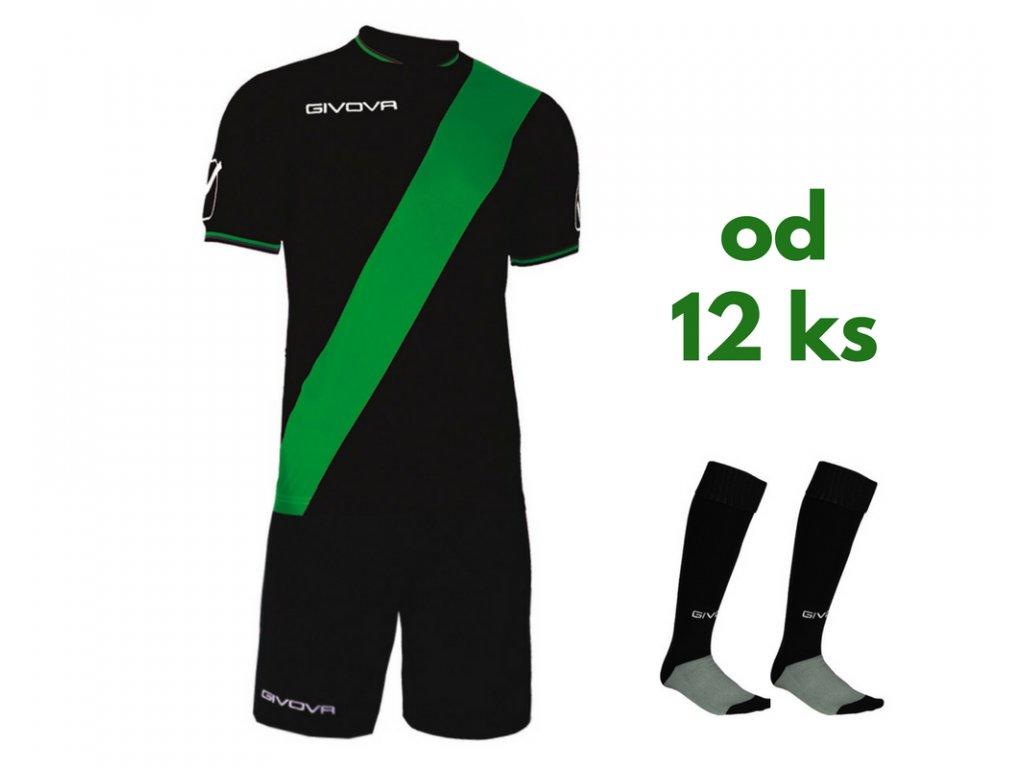 Futbalová sada Givova Plate pre celé mužstvo, od 12 ks, čierna / zelená
