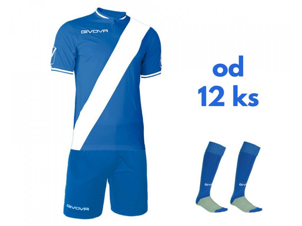 Futbalová sada Givova Plate pre celé mužstvo, od 12 ks, kráľovsky modrá / biela
