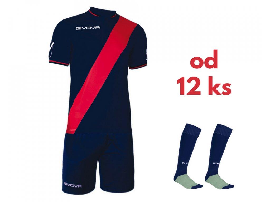 Futbalová sada Givova Plate pre celé mužstvo, od 12 ks, tmavo modrá / červená