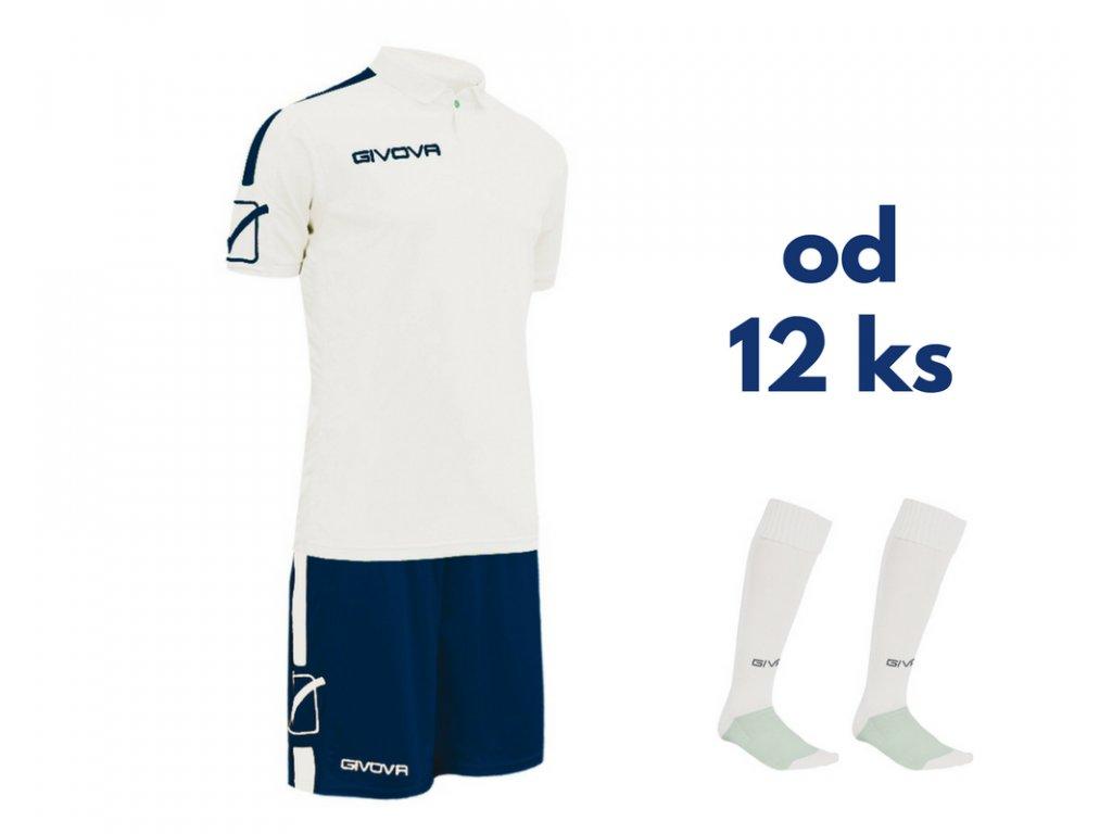 Futbalová sada Givova Play pre celé mužstvo, od 12 ks, biela / tmavo modrá