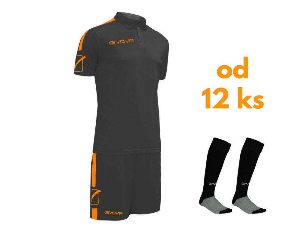 Futbalová sada Givova Play pre celé mužstvo, od 12 ks, čierna / oranžová neónová