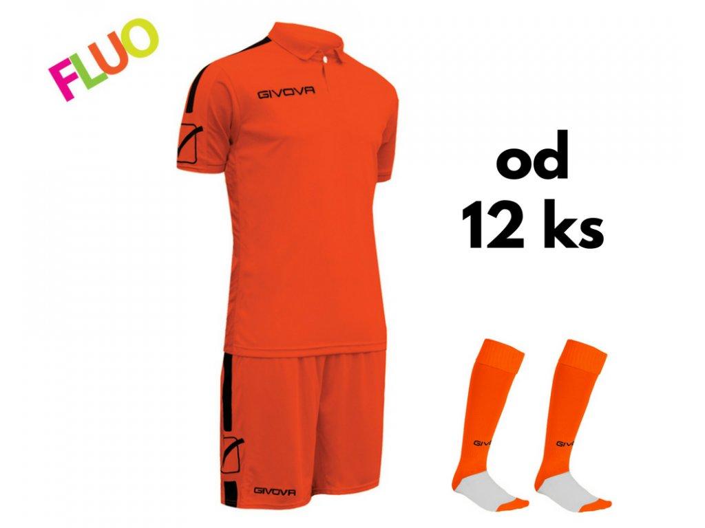 Futbalová sada Givova Play pre celé mužstvo, od 12 ks, oranžová neónová / čierna