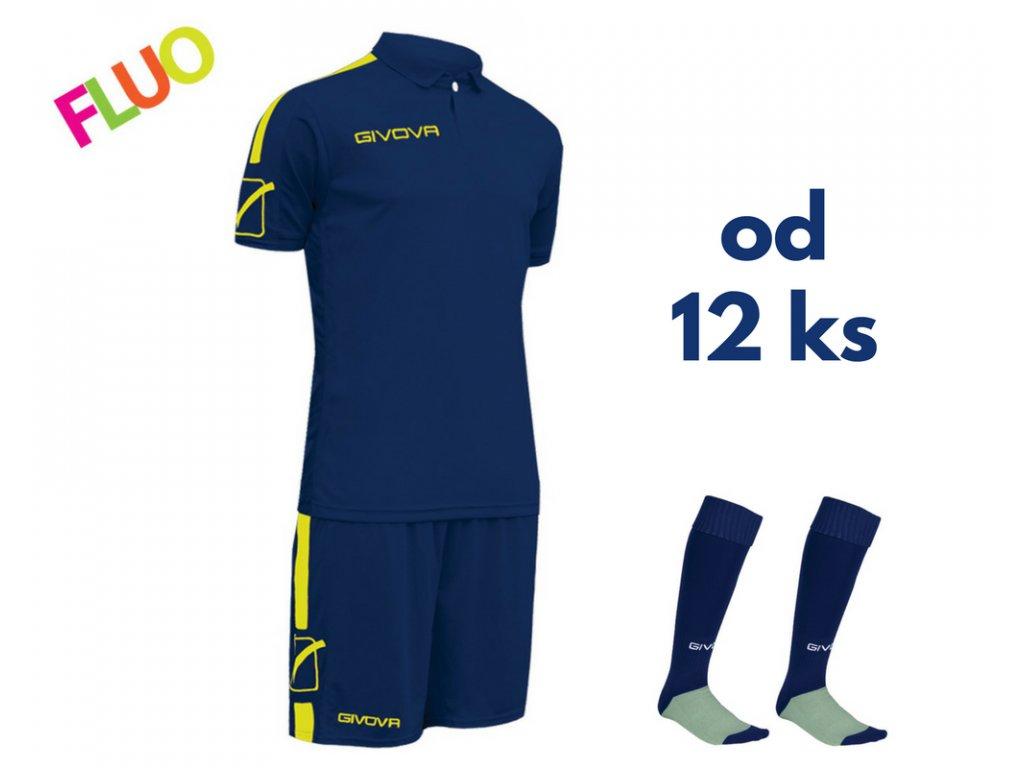 Futbalová sada Givova Play pre celé mužstvo, od 12 ks, tmavo modrá / žltá neónová