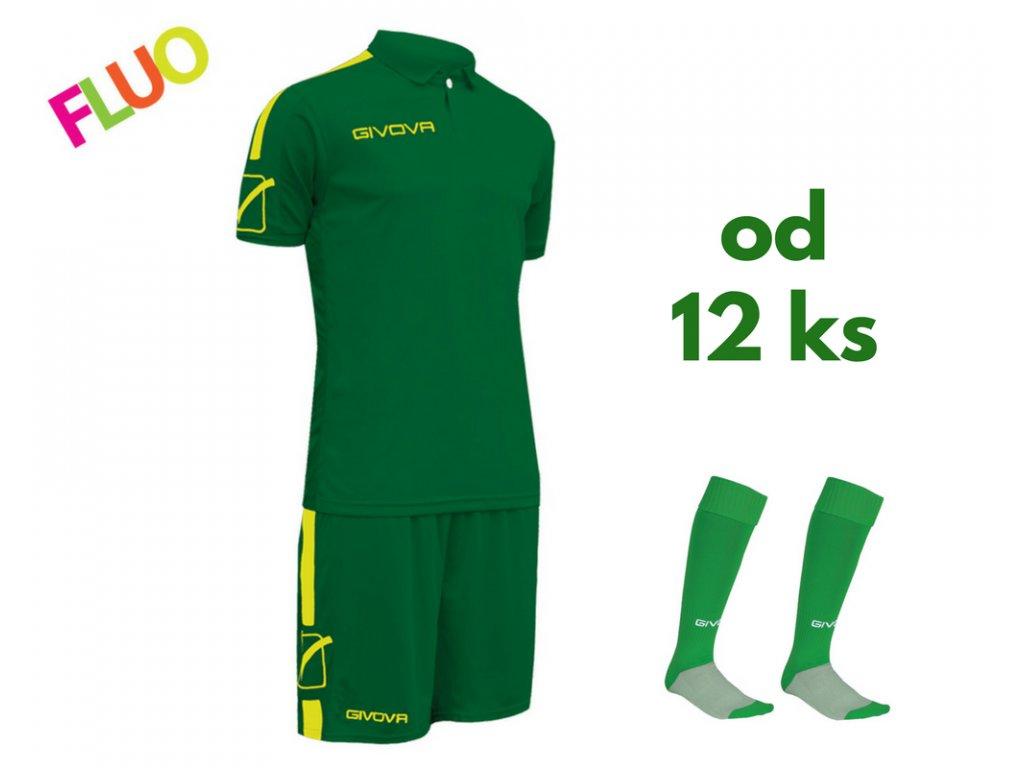 Futbalová sada Givova Play pre celé mužstvo, od 12 ks, zelená / žltá neónová