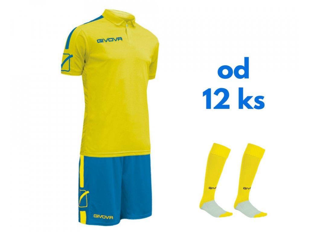 Futbalová sada Givova Play pre celé mužstvo, od 12 ks, žltá neónová / kráľovsky modrá