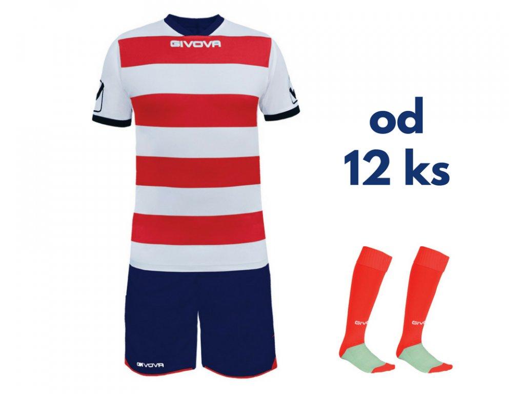 Futbalová sada Givova Rugby pre celé mužstvo, od 12 ks, biela / červená