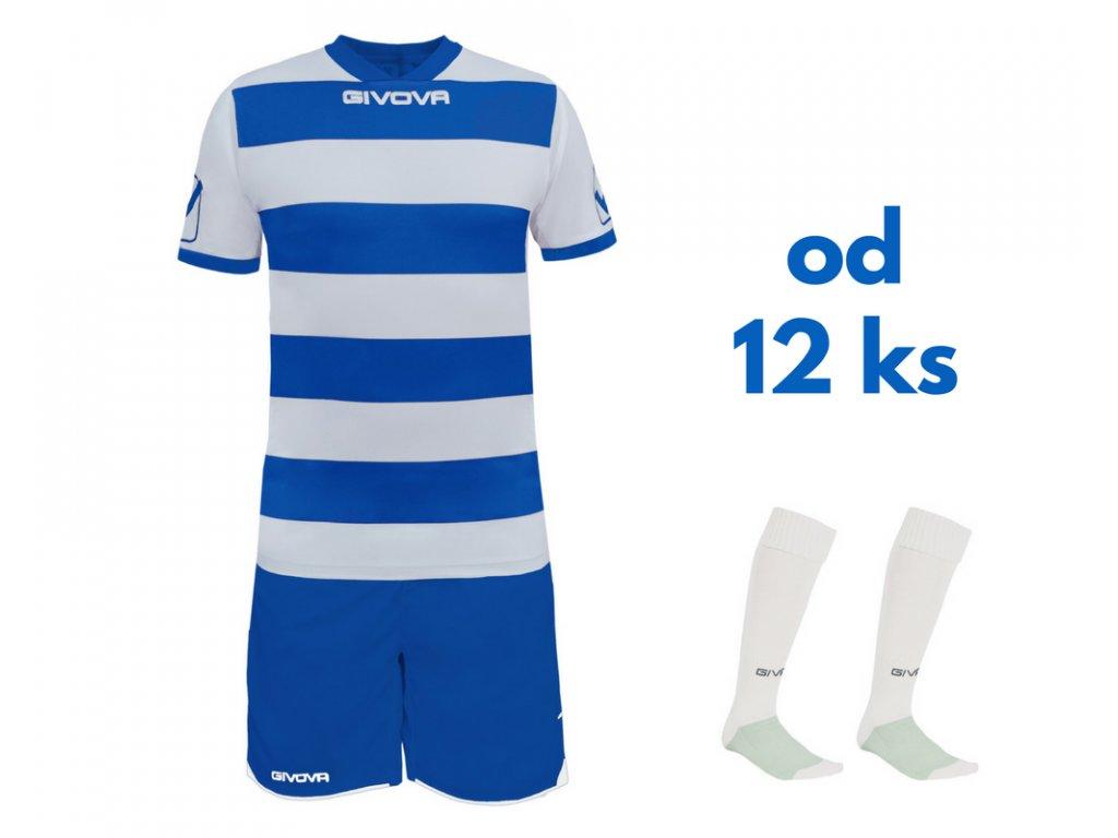 Futbalová sada Givova Rugby pre celé mužstvo, od 12 ks, biela / kráľovsky modrá