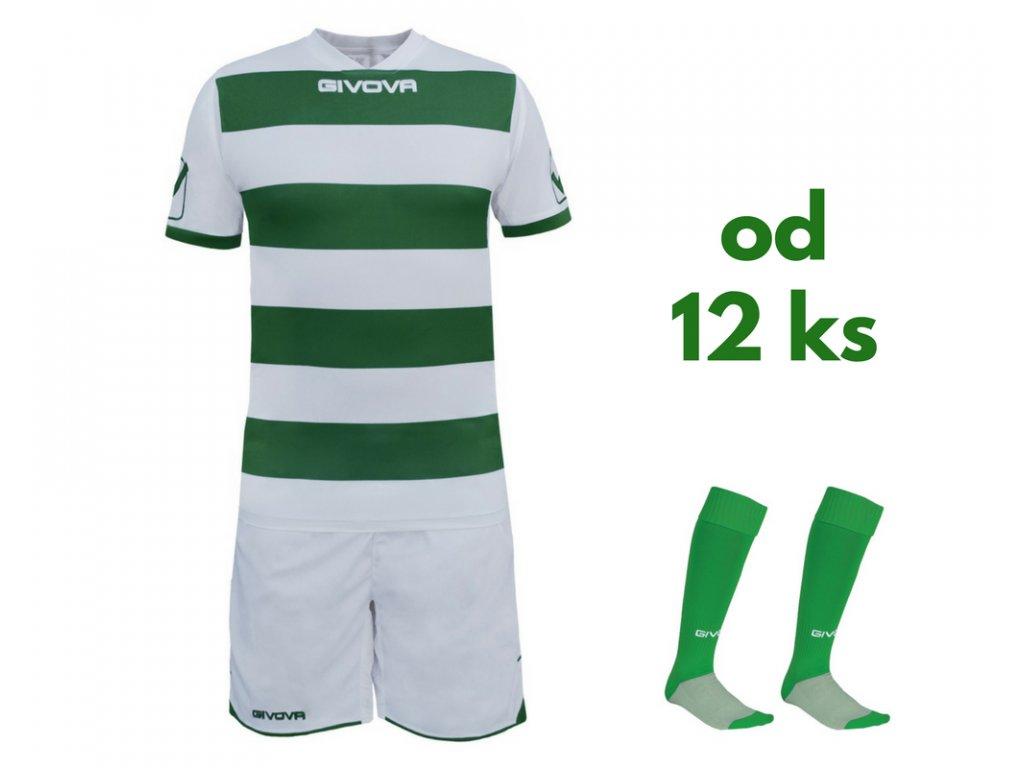 Futbalová sada Givova Rugby pre celé mužstvo, od 12 ks, biela / zelená