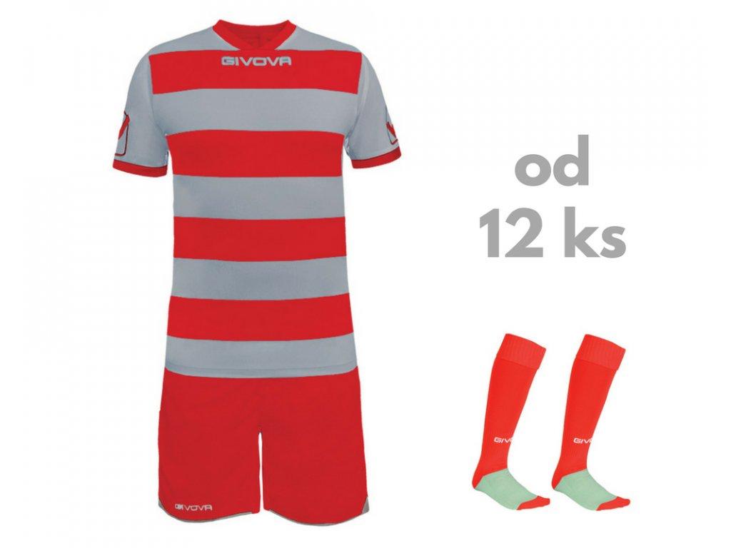 Futbalová sada Givova Rugby pre celé mužstvo, od 12 ks, sivá / červená