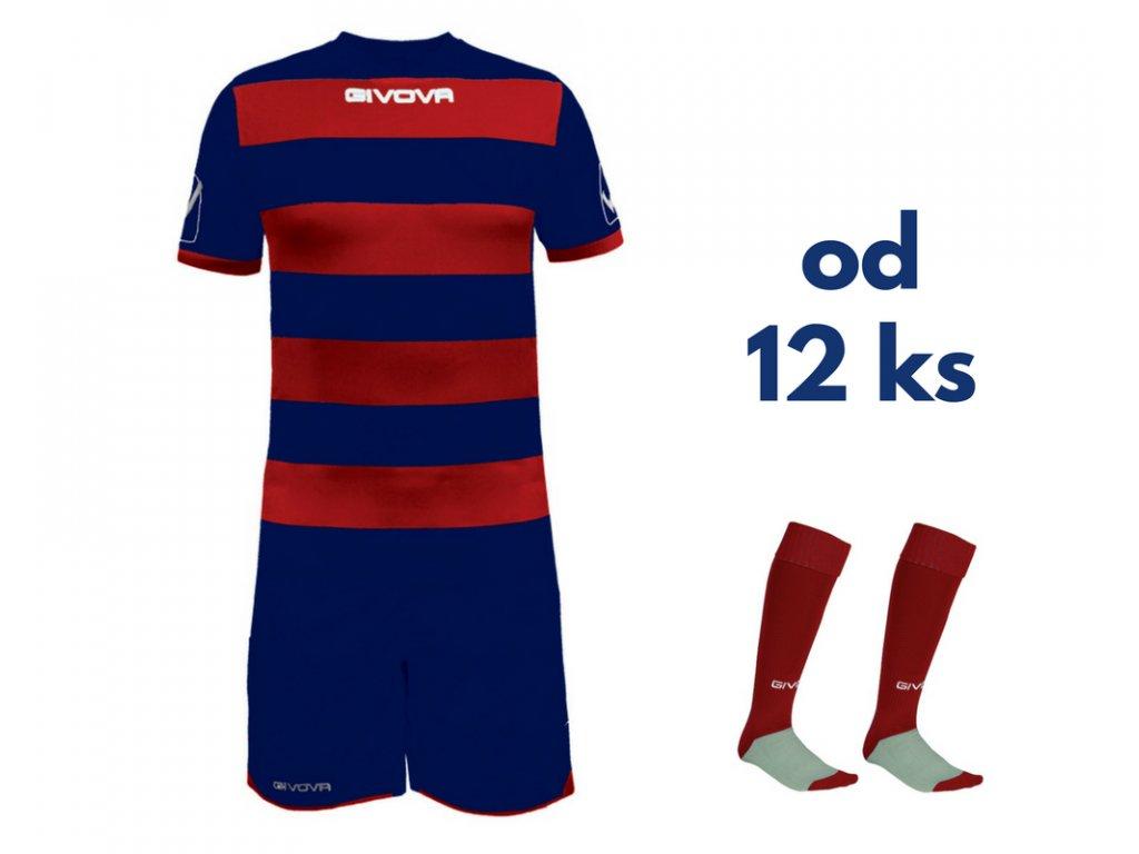 Futbalová sada Givova Rugby pre celé mužstvo, od 12 ks, tmavo modrá / červená