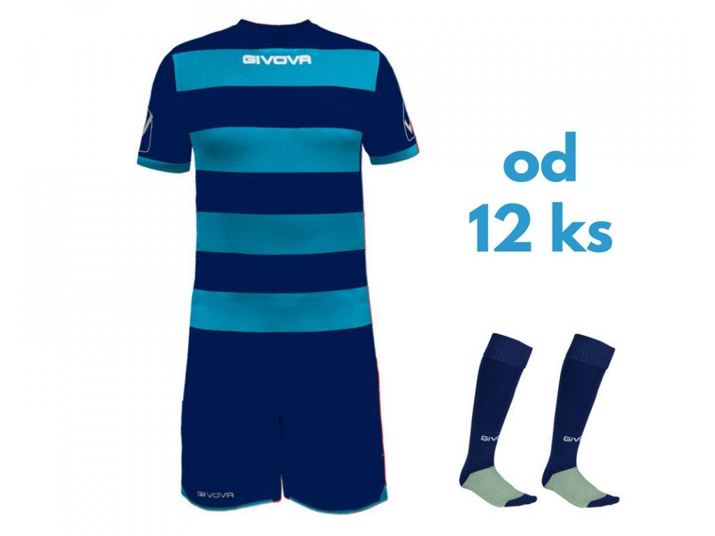 Futbalová sada Givova Rugby pre celé mužstvo, od 12 ks, tmavo modrá / svetlo modrá