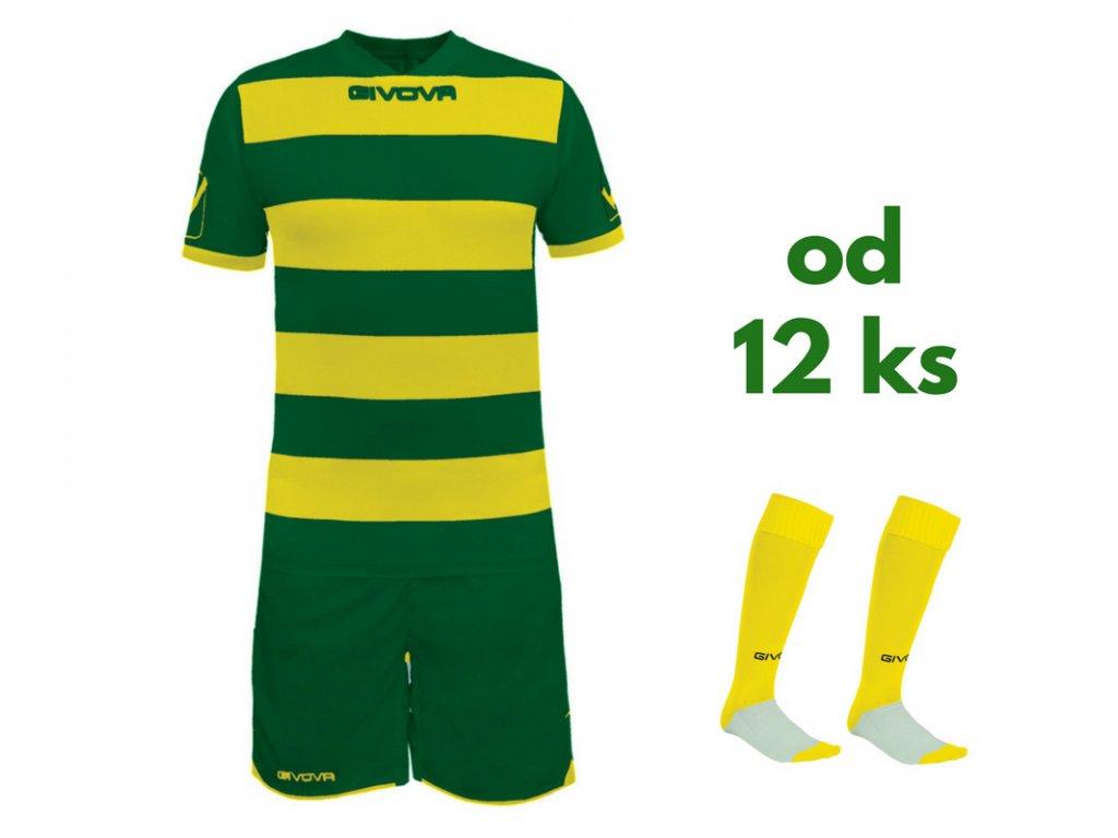 Futbalová sada Givova Rugby pre celé mužstvo, od 12 ks, zelená / žltá