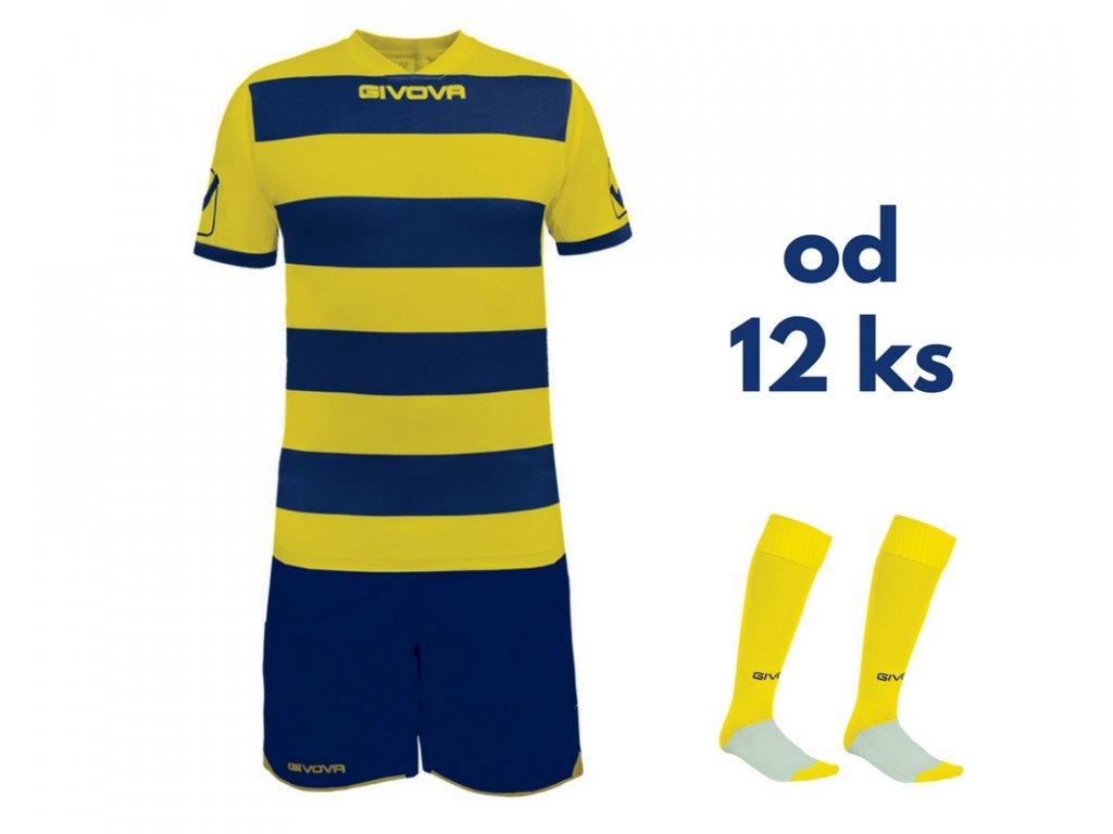 Futbalová sada Givova Rugby pre celé mužstvo, od 12 ks, žltá / tmavo modrá