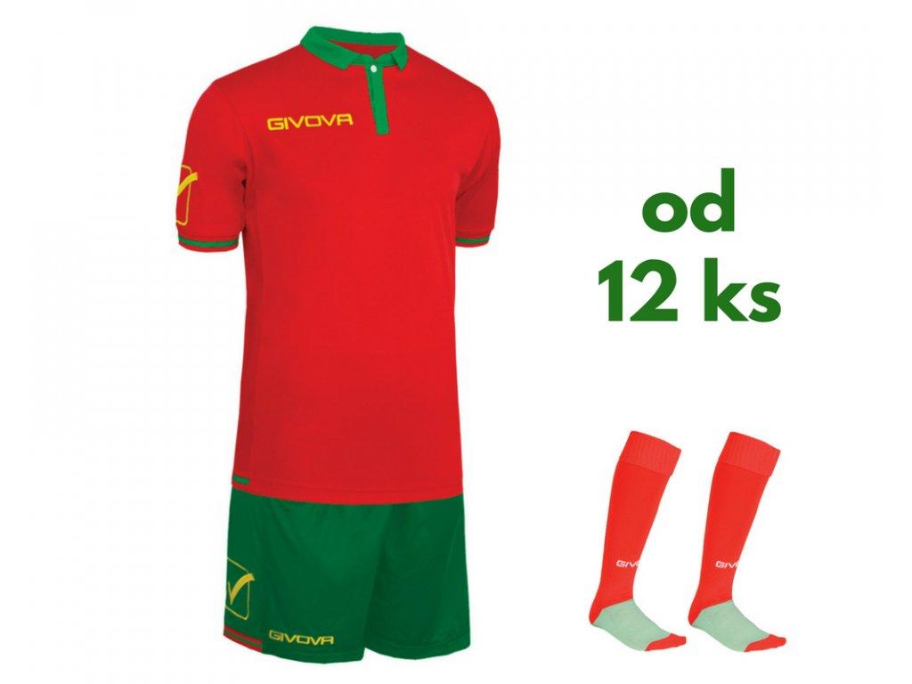 Futbalová sada Givova World pre celé mužstvo, od 12 ks, červená / zelená