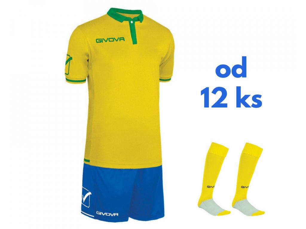 Futbalová sada Givova World pre celé mužstvo, od 12 ks, žltá / kráľovsky modrá