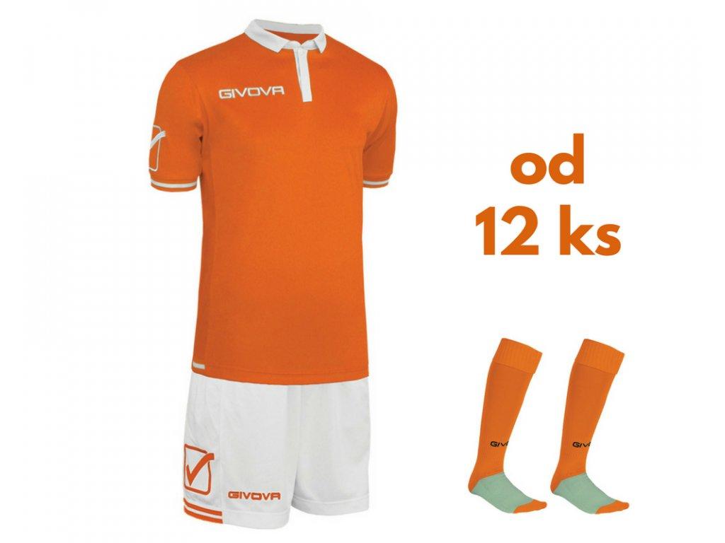 Futbalová sada Givova World pre celé mužstvo, od 12 ks, oranžová / biela