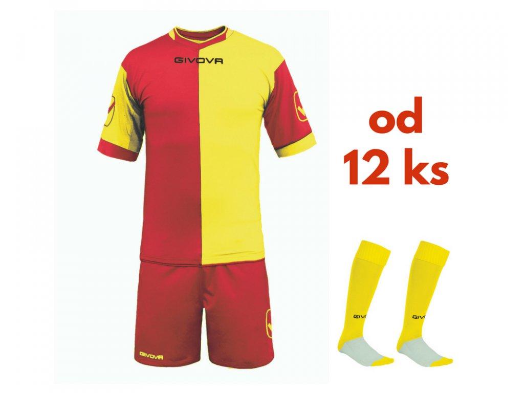 Futbalová sada Givova Combo pre celé mužstvo, od 12 ks, červená / žltá