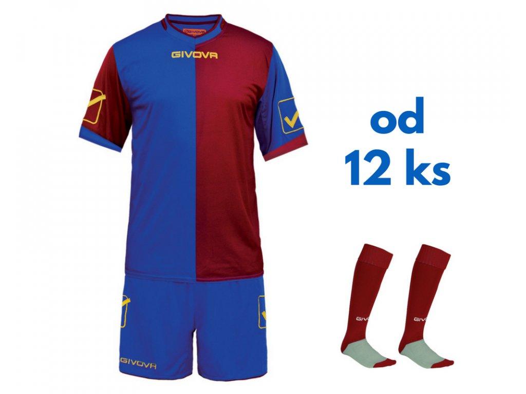 Futbalová sada Givova Combo pre celé mužstvo, od 12 ks, kráľovsky modrá / bordová