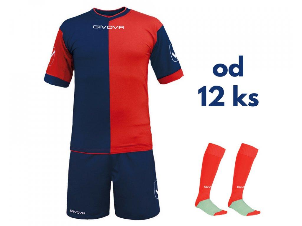 Futbalová sada Givova Combo pre celé mužstvo, od 12 ks, tmavo modrá / červená