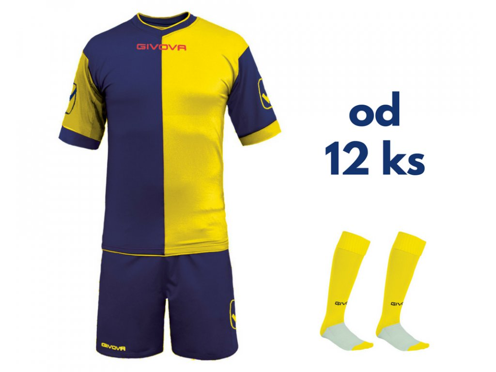 Futbalová sada Givova Combo pre celé mužstvo, od 12 ks, tmavo modrá / žltá