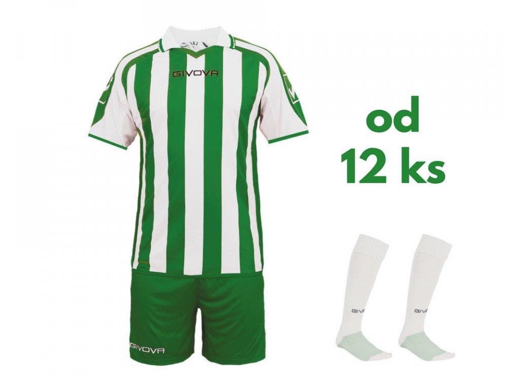 Futbalová sada Givova Supporter pre celé mužstvo, od 12 ks, biela / zelená