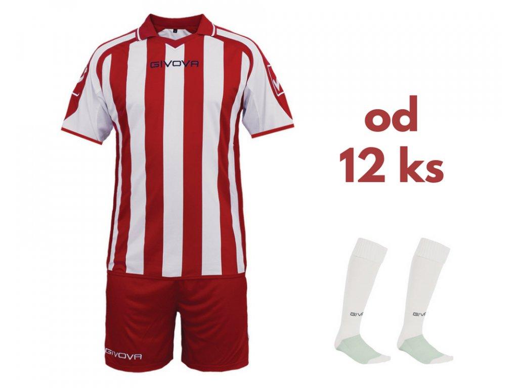 Futbalová sada Givova Supporter pre celé mužstvo, od 12 ks, červená / biela
