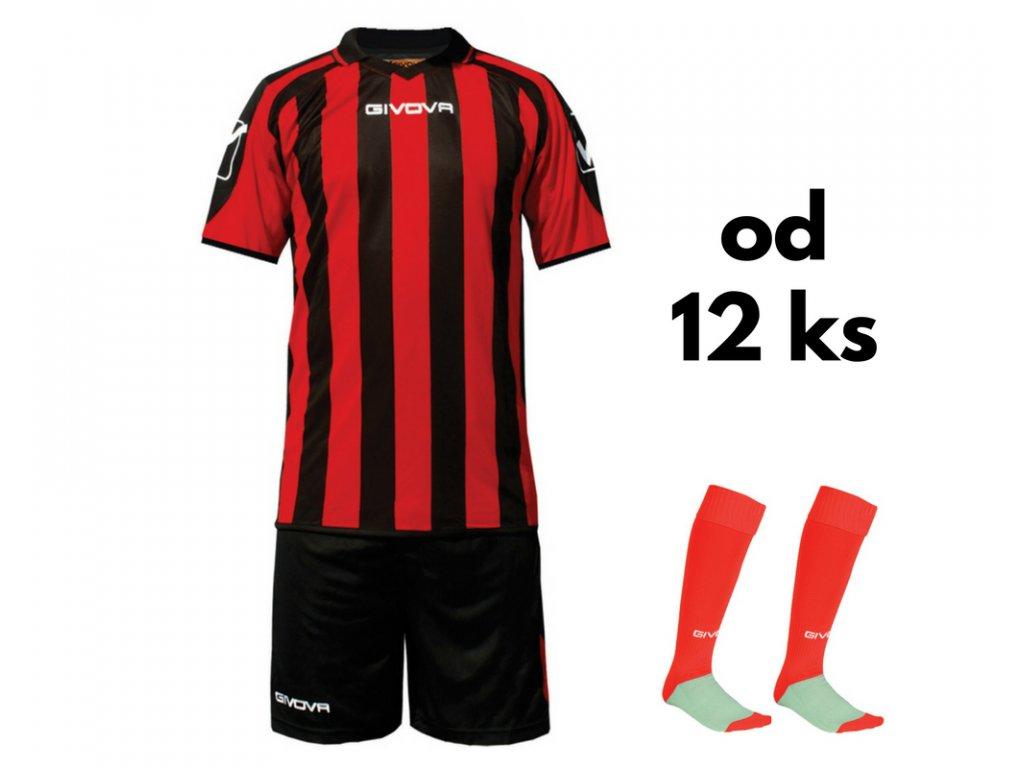 Futbalová sada Givova Supporter pre celé mužstvo, od 12 ks, červená / čierna