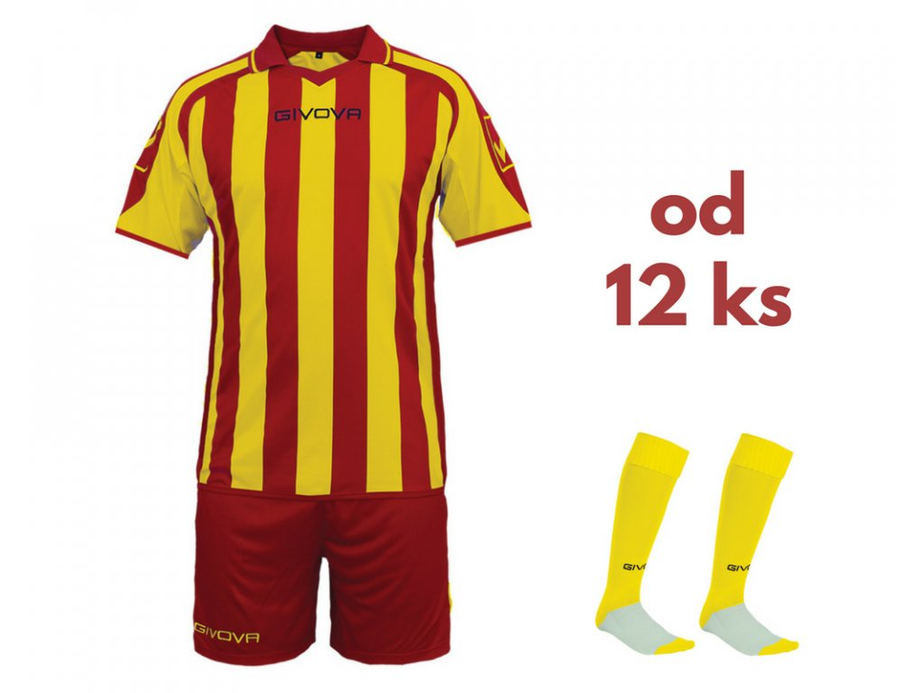 Futbalová sada Givova Supporter pre celé mužstvo, od 12 ks, červená / žltá
