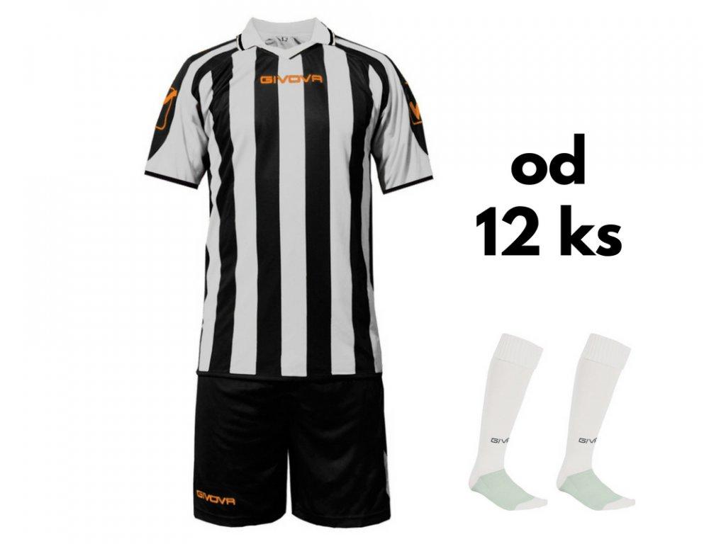 Futbalová sada Givova Supporter pre celé mužstvo, od 12 ks, čierna / biela