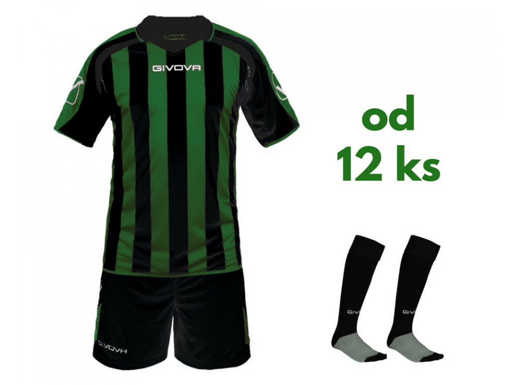 Futbalová sada Givova Supporter pre celé mužstvo, od 12 ks, čierna / zelená