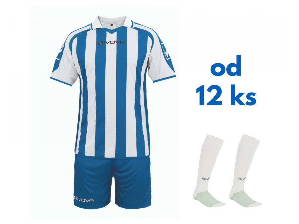 Futbalová sada Givova Supporter pre celé mužstvo, od 12 ks, kráľovsky modrá / biela