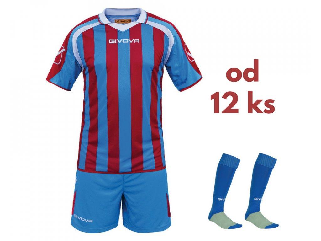 Futbalová sada Givova Supporter pre celé mužstvo, od 12 ks, kráľovsky modrá / červená