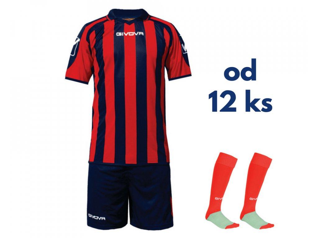 Futbalová sada Givova Supporter pre celé mužstvo, od 12 ks, tmavo modrá / červená