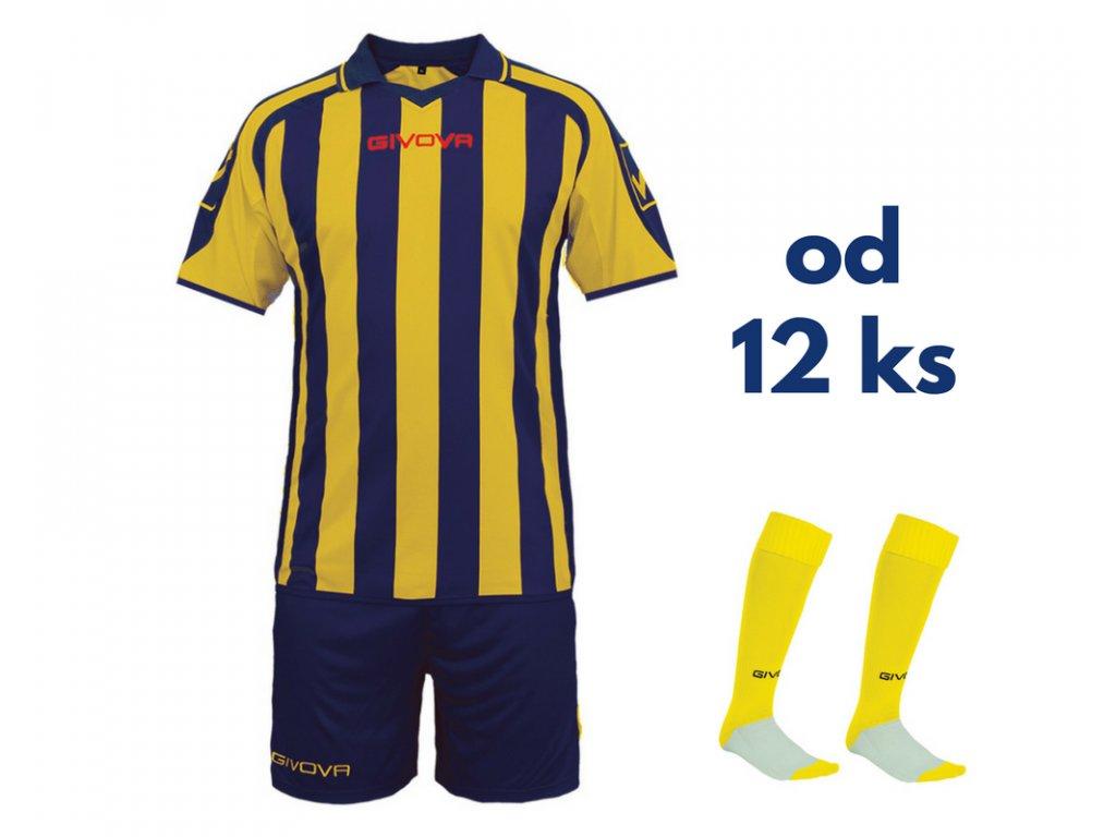 Futbalová sada Givova Supporter pre celé mužstvo, od 12 ks, tmavo modrá / žltá