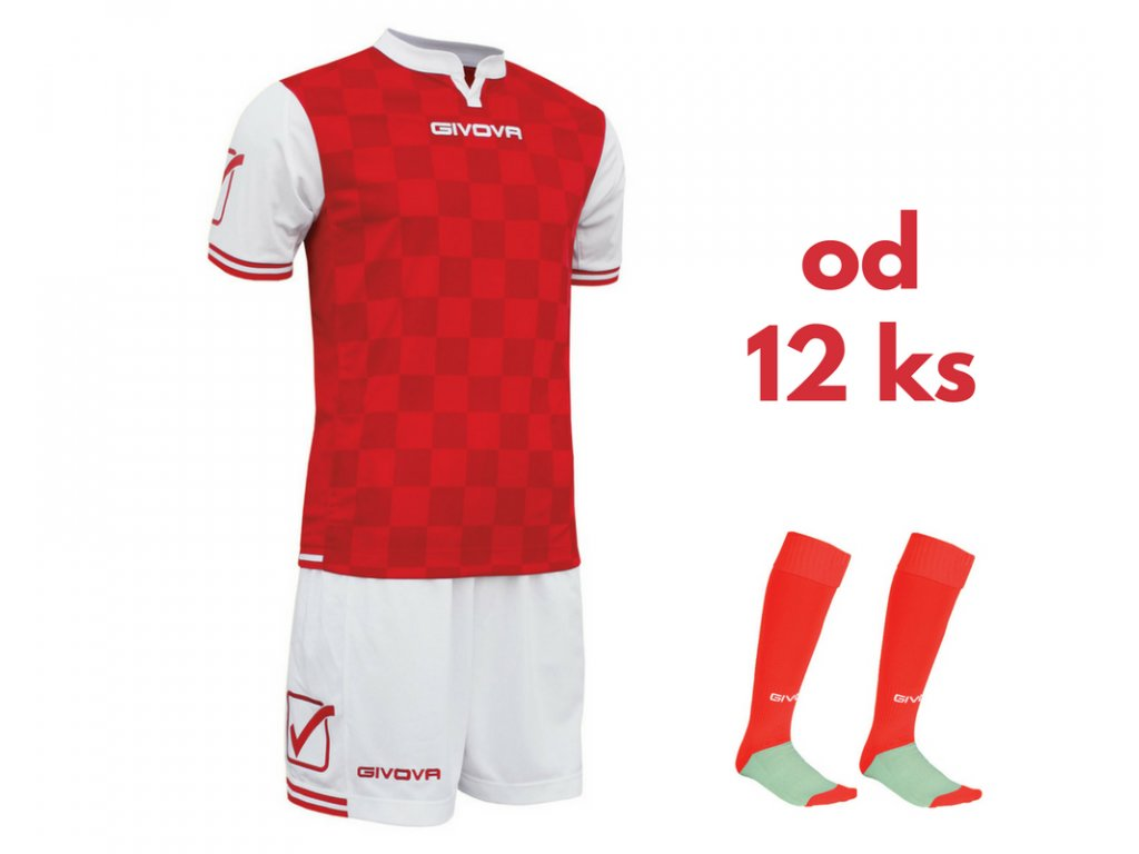 Futbalová sada Givova Competition pre celé mužstvo, od 12 ks, biela / červená