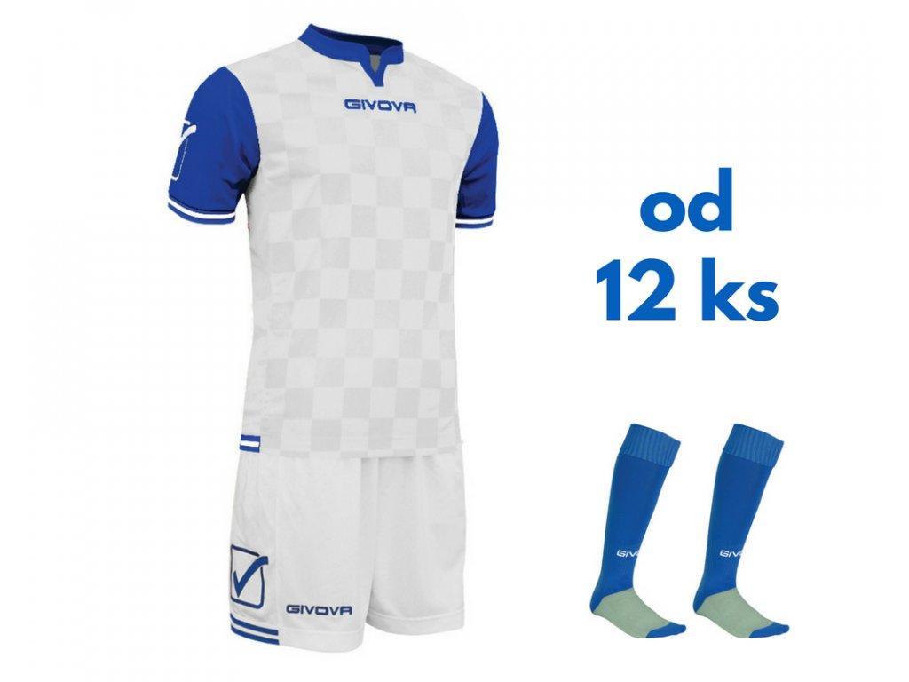 Futbalová sada Givova Competition pre celé mužstvo, od 12 ks, biela / kráľovsky modrá