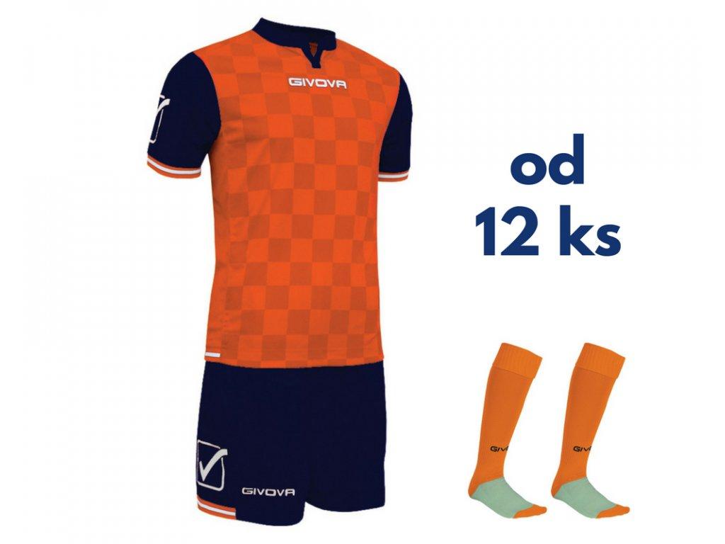 Futbalová sada Givova Competition pre celé mužstvo, od 12 ks, oranžová / tmavo modrá