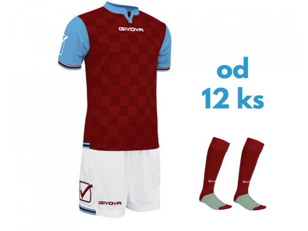 Futbalová sada Givova Competition pre celé mužstvo, od 12 ks, svetlo modrá / bordová