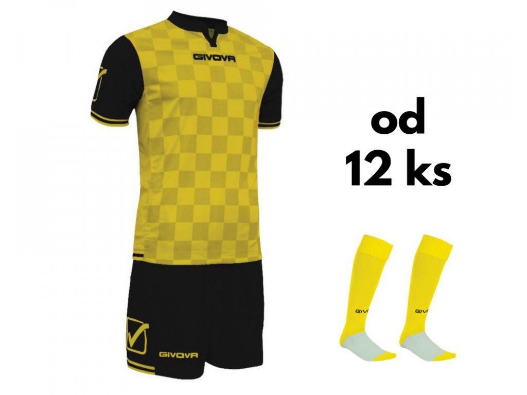 Futbalová sada Givova Competition pre celé mužstvo, od 12 ks, žltá / čierna