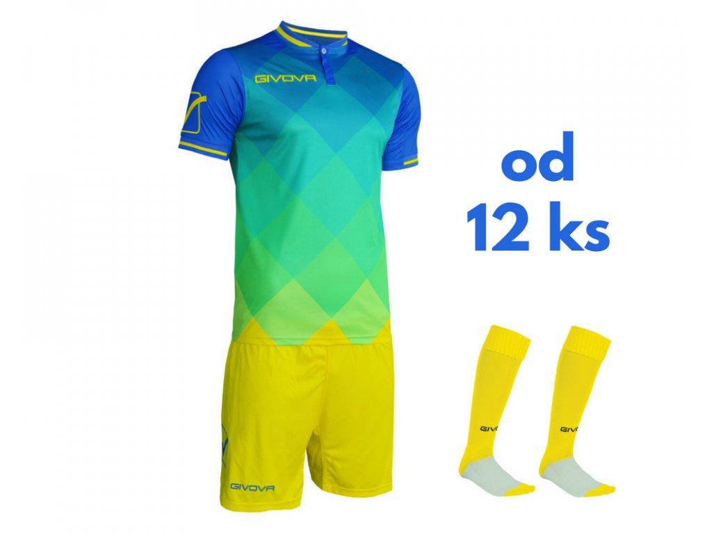 Futbalová sada Givova Shade pre celé mužstvo, od 12 ks, kráľovsky modrá / žltá