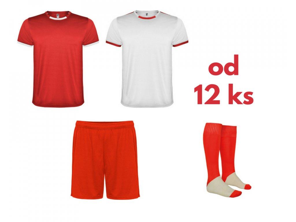 Futbalová sada Racing 2x dres. 1x šortky, 1x štucne, od 12 ks, červená / biela