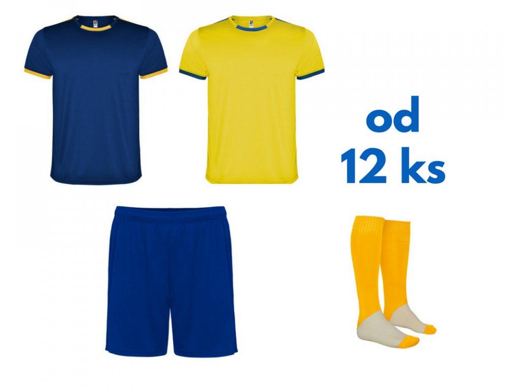 Futbalová sada Racing 2x dres. 1x šortky, 1x štucne, od 12 ks, kráľovsky modrá / žltá