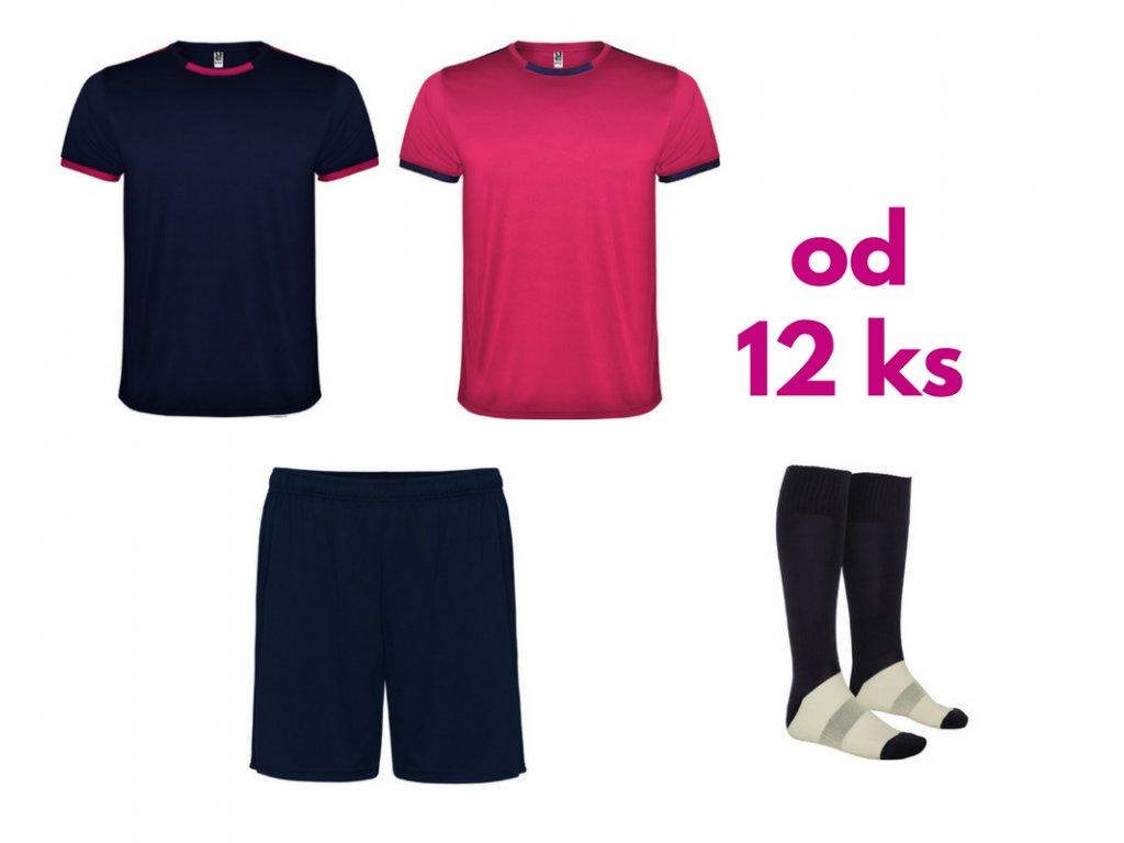 Futbalová sada Racing 2x dres. 1x šortky, 1x štucne, od 12 ks, tmavo modrá / ružová