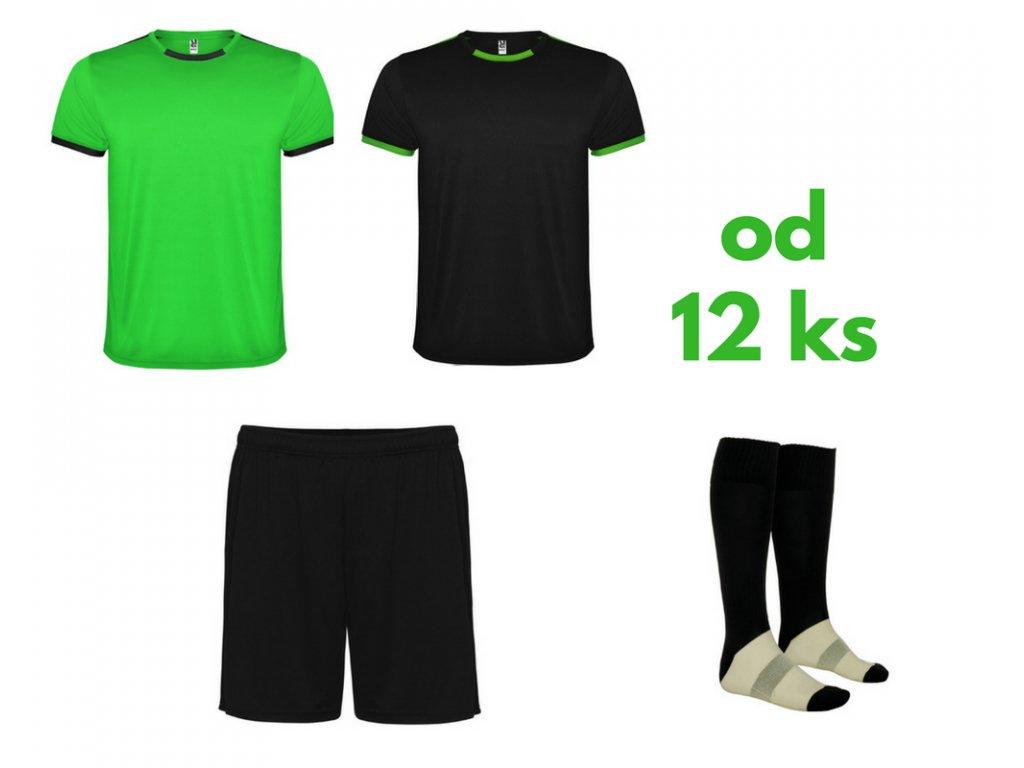 Futbalová sada Racing 2x dres. 1x šortky, 1x štucne, od 12 ks, zelená / čierna