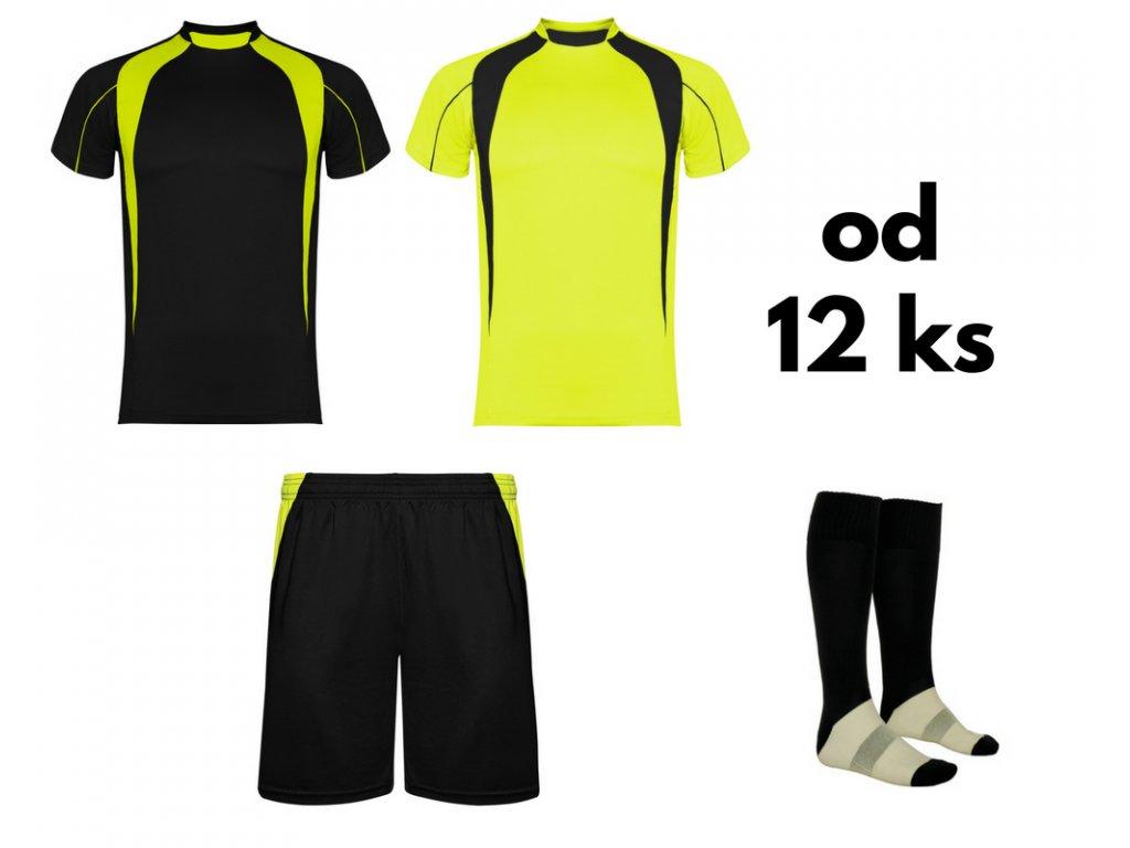 Futbalová sada Salas, 2x dres. 1x šortky, 1x štucne, od 12 ks, čierna / žltá neónová