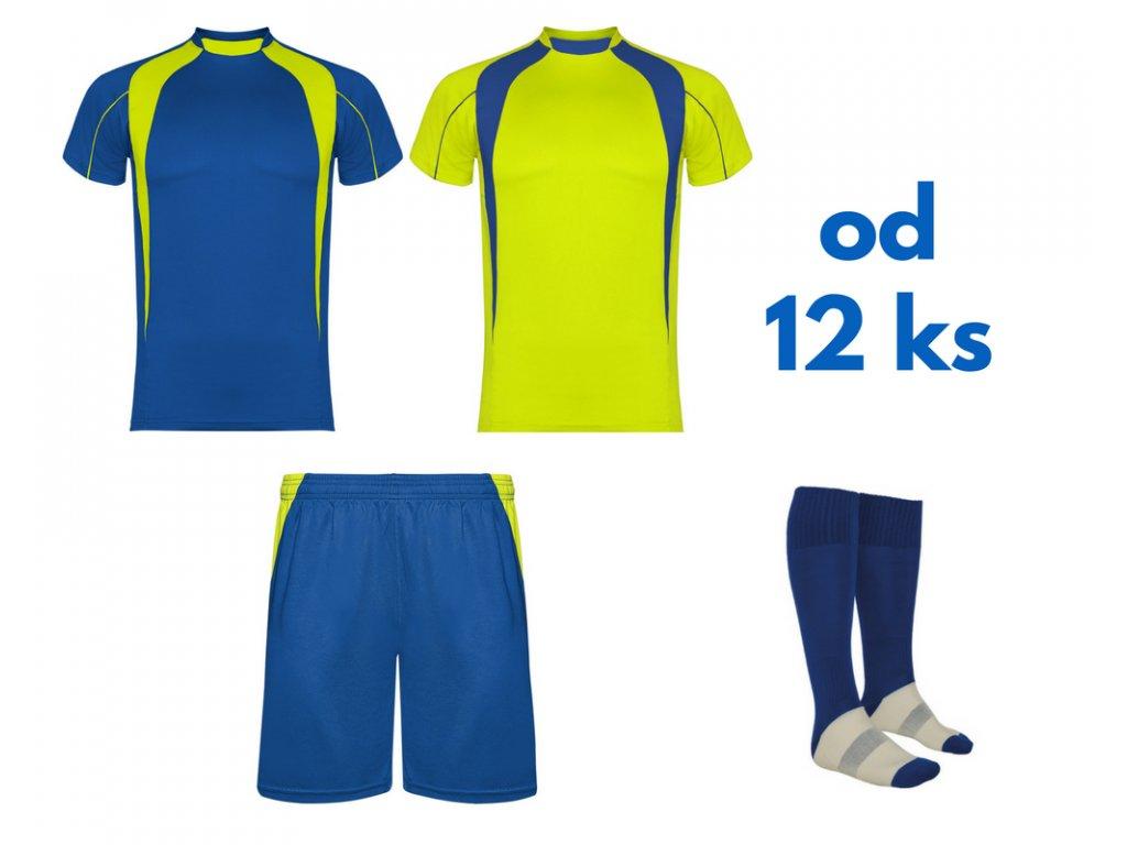 Futbalová sada Salas, 2x dres. 1x šortky, 1x štucne, od 12 ks, kráľovsky modrá / žltá neónová