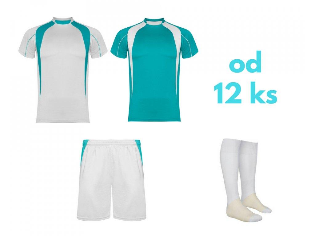 Futbalová sada Salas, 2x dres. 1x šortky, 1x štucne, od 12 ks, tyrkysová / biela