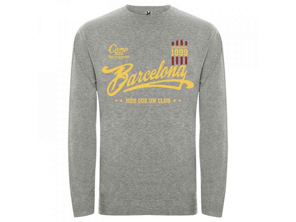 0dc3b5a9b5a19 Pánske tričko dlhý rukáv Barcelona, sivé melírové | Superfutbal.sk